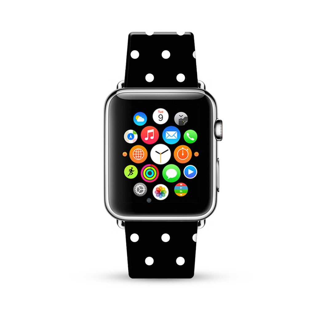 Custom Apple Watch Strap Polka Dots Black  38mm / 40mm  , 42mm / 44mm