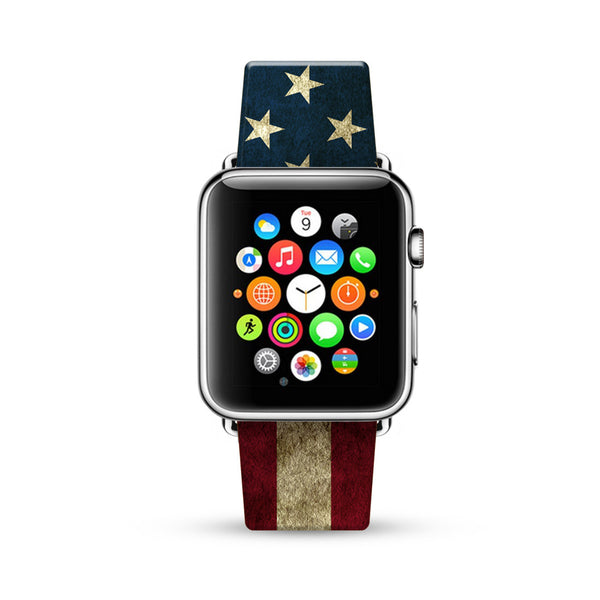 USA Flag Watch Band Strap for Apple Watch -  38mm / 40mm  , 42mm / 44mm