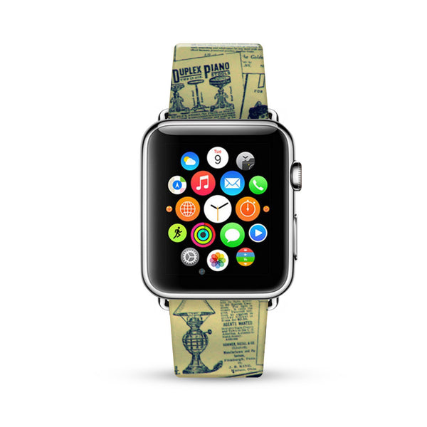 Vintage Newsletter Pattern Watch Band Strap for Apple Watch -  38mm / 40mm  , 42mm / 44mm