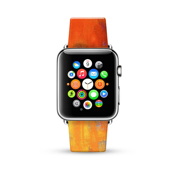 Water paint abstract color Orange 13 Watch Band Strap for Apple Watch -  38mm / 40mm  , 42mm / 44mm