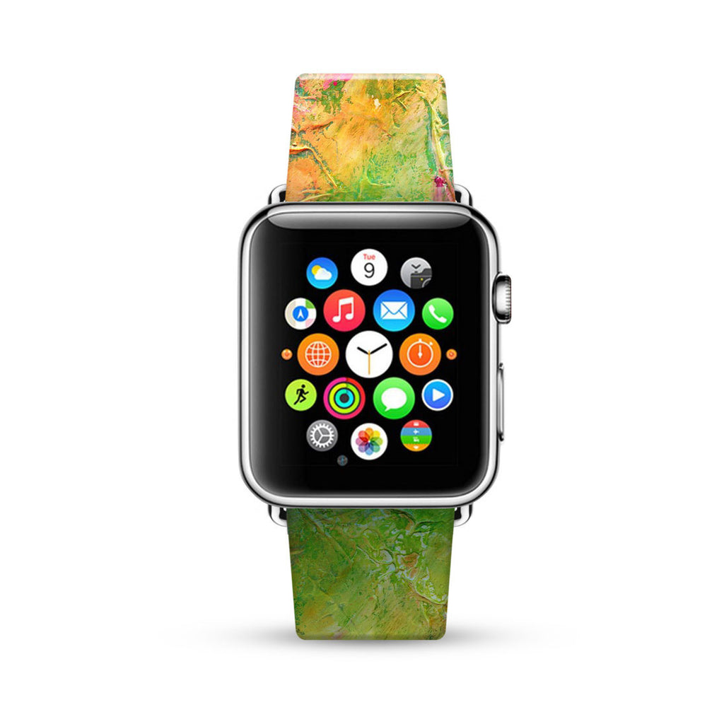 Water paint abstract color Green 08 Watch Band Strap for Apple Watch -  38mm / 40mm  , 42mm / 44mm