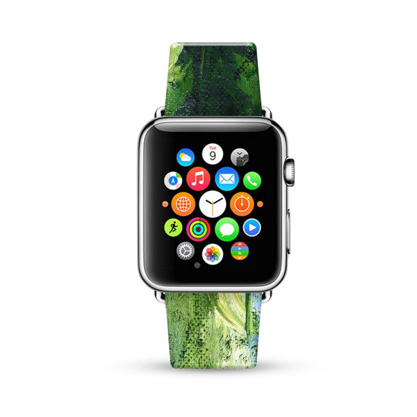 Water paint abstract color Green 09 Watch Band Strap for Apple Watch -  38mm / 40mm  , 42mm / 44mm