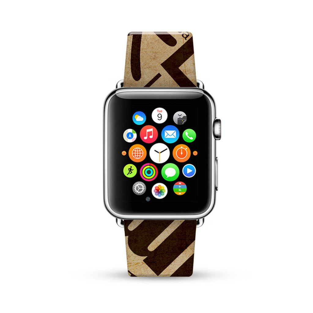 Vintage Words Pattern Brown Watch Band Strap for Apple Watch - 38 mm / 42 mm