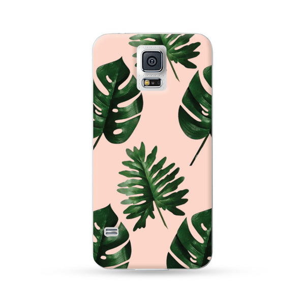 Samsung Galaxy Note 5 4 3 S6 edge plus S5 S4 S3 Case  Botanical Green Leaf Pink | Ultra-case.com