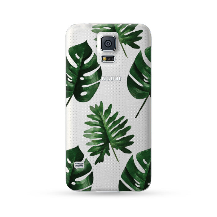 Samsung Galaxy Note 5 4 3 S6 edge plus S5 S4 S3 Case Botanical Green Leaf Transparent | Ultra-case.com