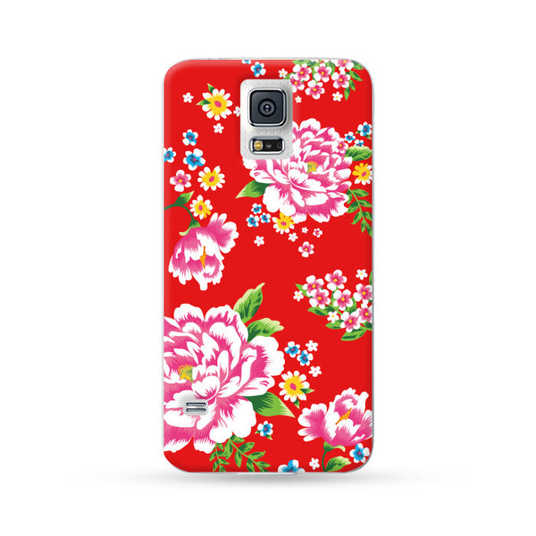 Samsung Galaxy Case Hong Kong Style Chinese Flower Red | Ultra-case.com