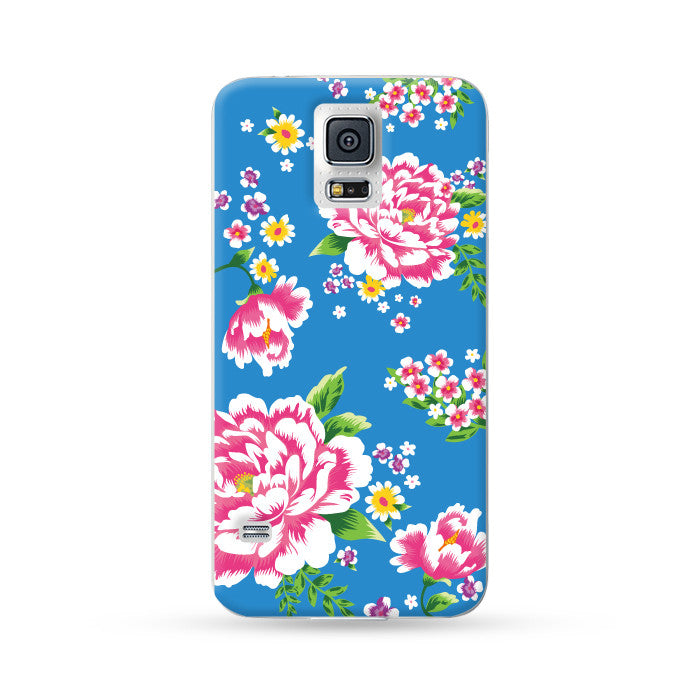 Samsung Galaxy Case Hong Kong Style Chinese Flower Blue | Ultra-case.com