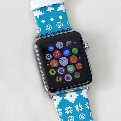 Custom Apple Watch Strap Blue Winter Pattern  38mm / 40mm  , 42mm / 44mm