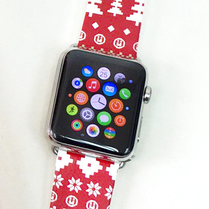 Custom Apple Watch Strap Red Winter Pattern  38mm / 40mm  , 42mm / 44mm