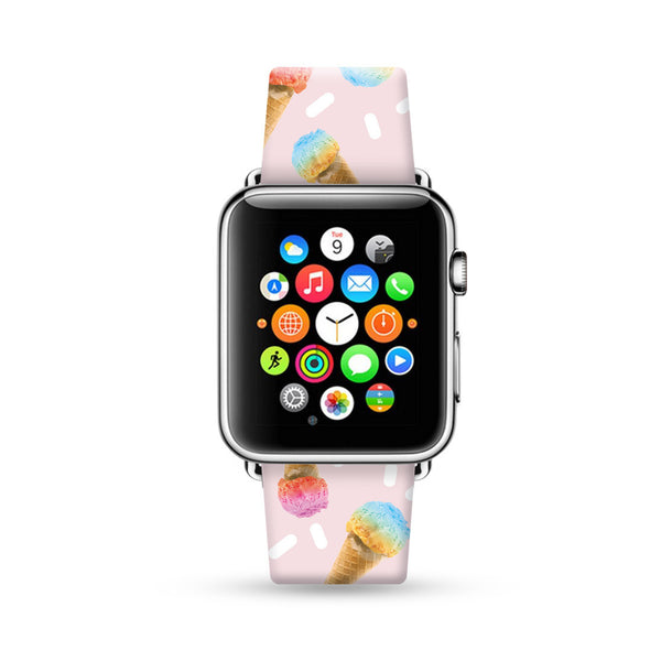 Custom Apple Watch Strap Ice Cream pink pattern 38 mm 42 mm