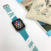 Ultra Case Custom Made Apple Watch Strap Aqua Blue Geometric  38mm / 40mm  , 42mm / 44mm