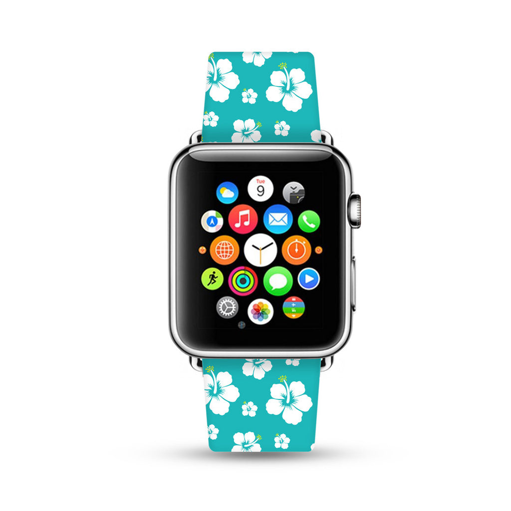 Custom Apple Watch Strap Cyan Hawaii Floral Aloha pattern  38mm / 40mm  , 42mm / 44mm