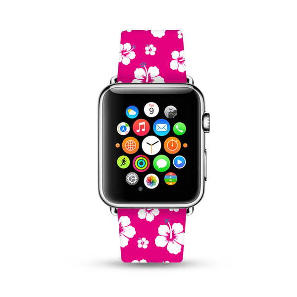 Custom Apple Watch Strap Pink Hawaii Floral Aloha pattern  38mm / 40mm  , 42mm / 44mm