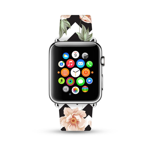 Rose Floral Black Chevron Pattern Apple Watch Strap Band 38mm / 40mm  , 42mm / 44mm | Ultra-case.com