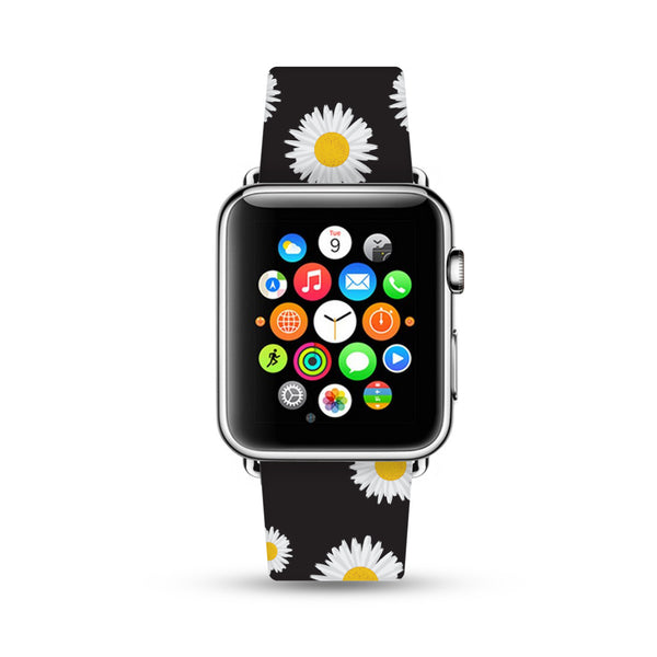 Daisy Black Floral Pattern Apple Watch Strap Band 38 42 mm | Ultra-case.com