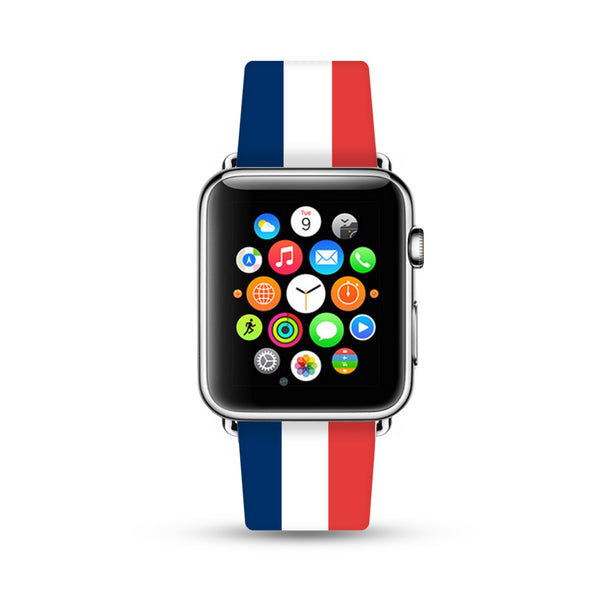 France Flag Blue White Red Strips Watch Band Strap for Apple Watch -  38mm / 40mm  , 42mm / 44mm