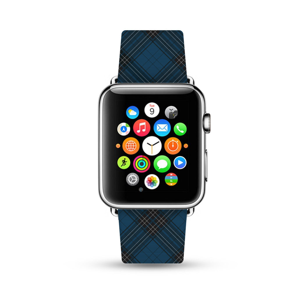Custom Apple Watch Strap Blue Grid pattern 38 mm 42 mm