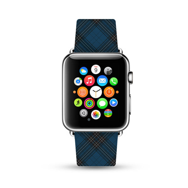 Custom Apple Watch Strap Blue Grid pattern  38mm / 40mm  , 42mm / 44mm