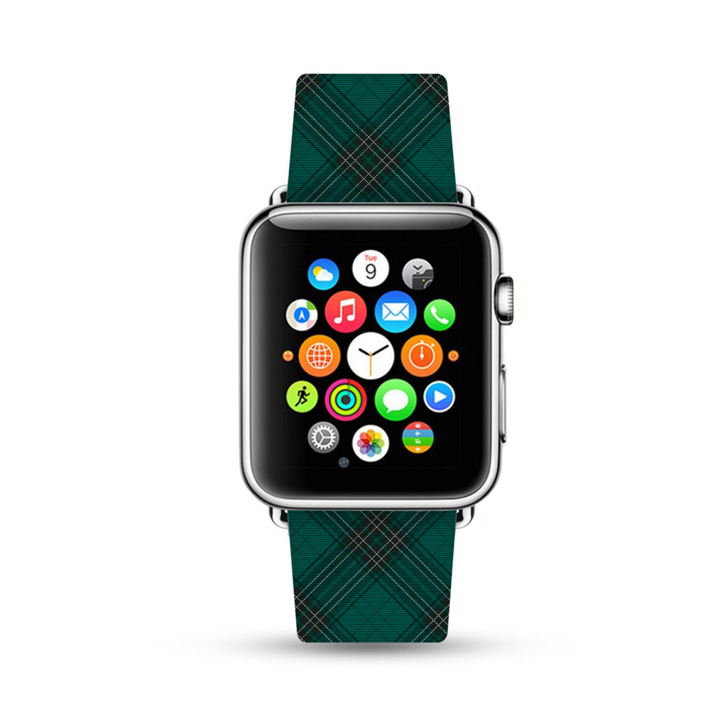 Custom Apple Watch Strap Green Grid pattern 38 mm 42 mm
