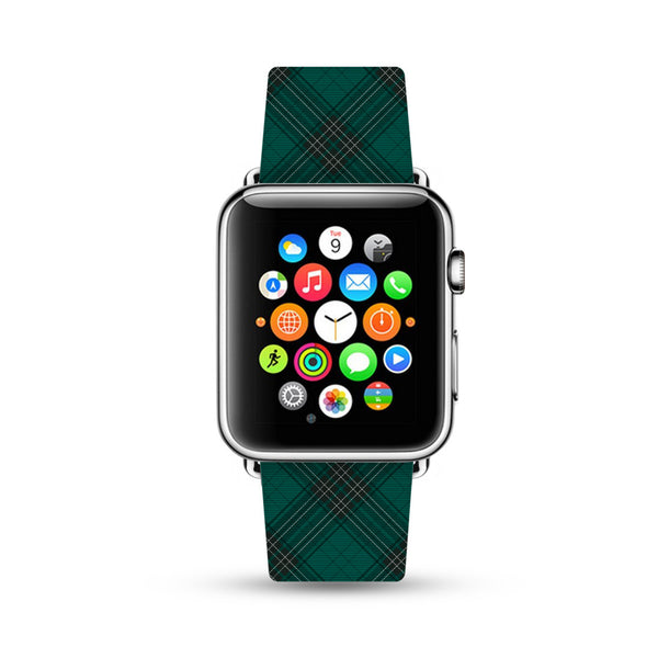 Custom Apple Watch Strap Green Grid pattern  38mm / 40mm  , 42mm / 44mm