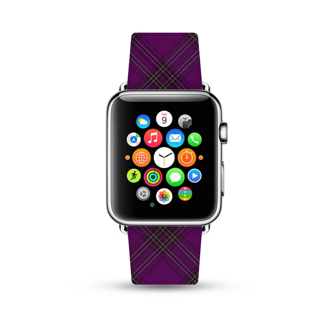 Custom Apple Watch Strap Purple Grid pattern 38 mm 42 mm