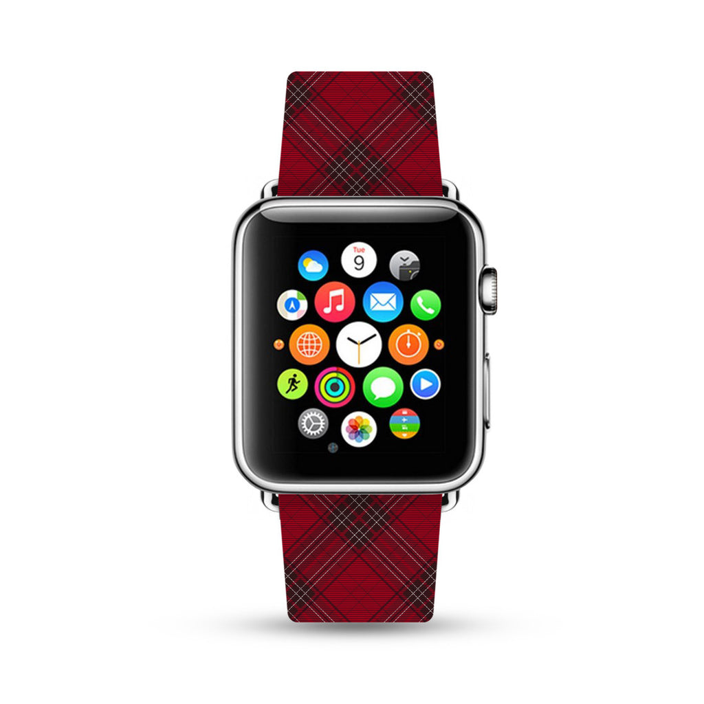 Custom Apple Watch Strap Red Grid pattern 38 mm 42 mm