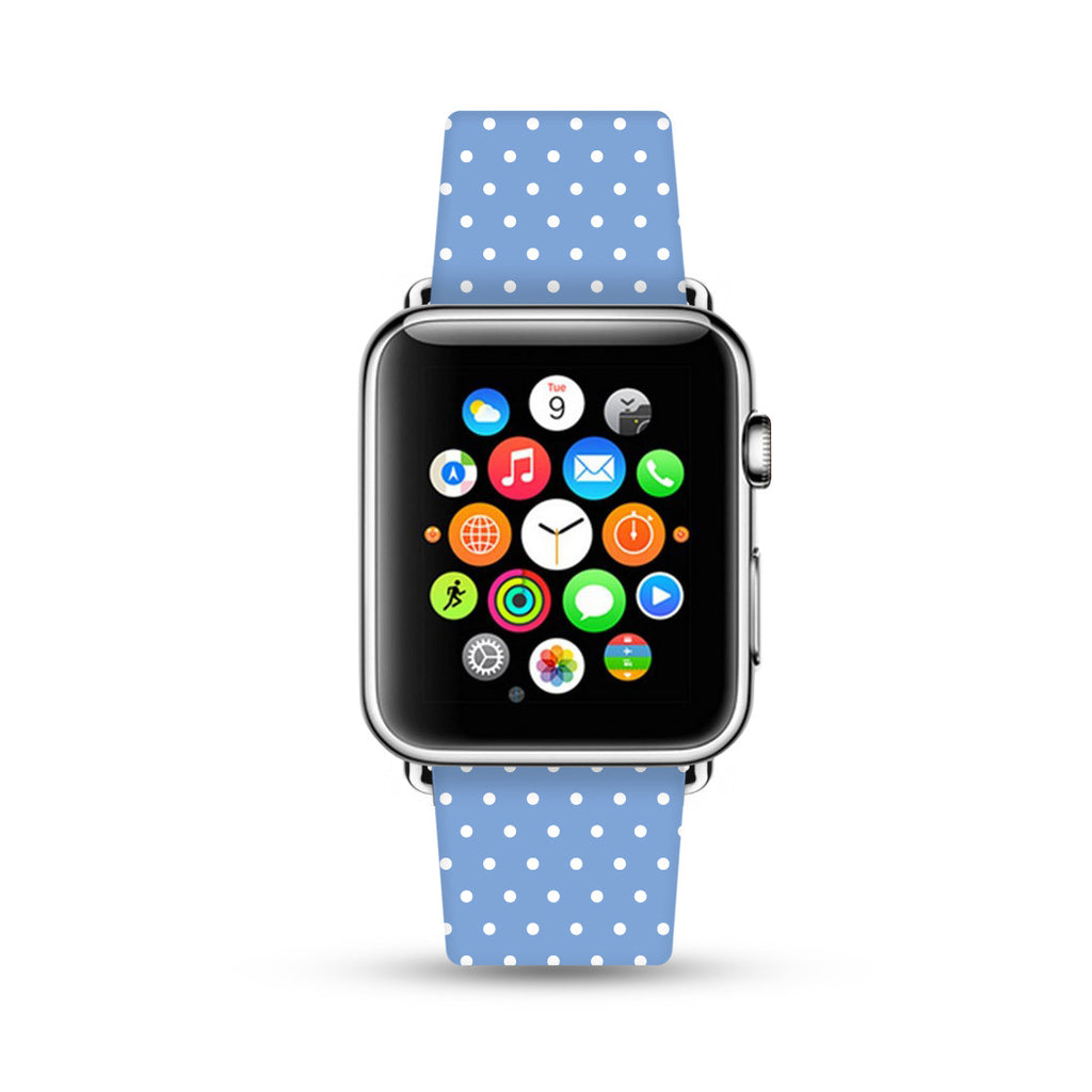 Custom Apple Watch Strap Polka Dots Baby Blue  38mm / 40mm  , 42mm / 44mm