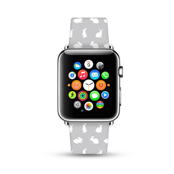 Custom Apple Watch Strap Cutie Rabbit Gray  38mm / 40mm  , 42mm / 44mm
