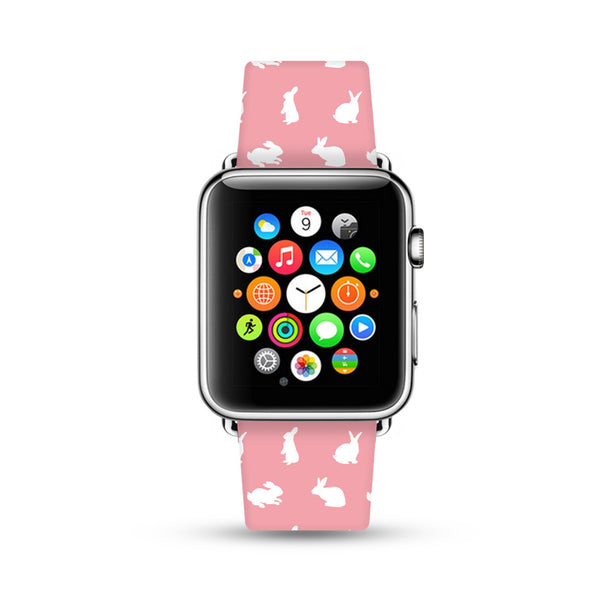 Custom Apple Watch Strap Cutie Rabbit Pink  38mm / 40mm  , 42mm / 44mm
