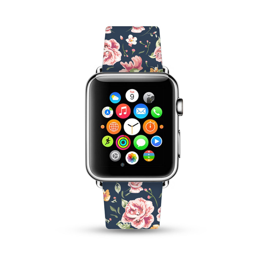 Black Vintage Rose Floral Apple Watch Strap Band 38mm / 40mm  , 42mm / 44mm | Ultra-case.com