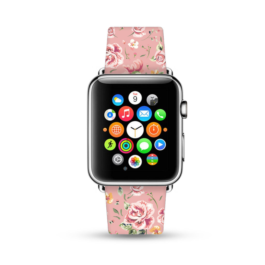Pink Vintage Rose Floral Apple Watch Strap Band 38 42 mm | Ultra-case.com
