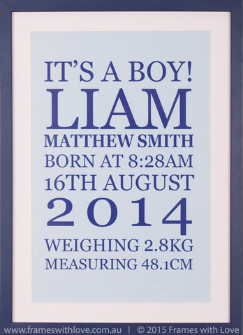 Birth Announcement Wall Art - Text Scroll - Boy (1002)