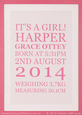 Birth Announcement Wall Art - Text Scroll - Girl (1001)