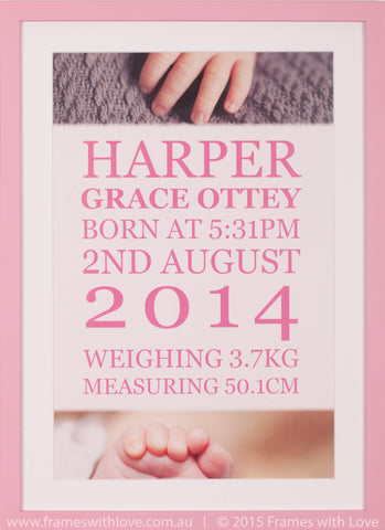 Birth Announcement Wall Art - Text Scroll with Feature Photos - Girl (1009)