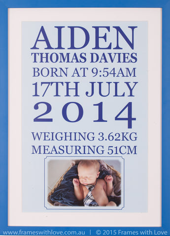 Birth Announcement Wall Art - Text Scroll with Photo - Boy (1004)