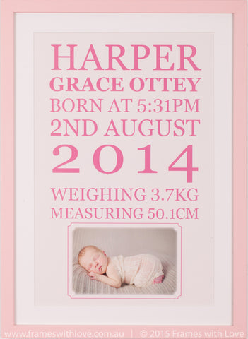 Birth Announcement Wall Art - Text Scroll with Photo - Girl (1003)