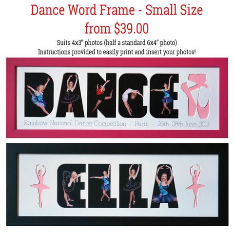 DANCE Word Frames - Create your own word - SMALL SIZE