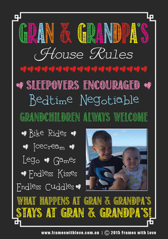 Gran & Grandpa's House Rules - Blackboard Design with Photo - With Choice of Background! (1160)