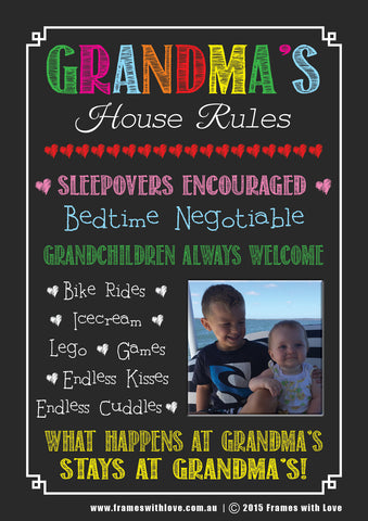Grandma's House Rules - Chalkboard Design with Photo - With Choice of Background! (1163)