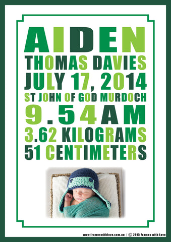 Birth Announcement Wall Art - Text Scroll with Photo - Shades of Green - Girl or Boy (1126)