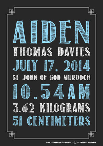Birth Announcement Wall Art - Text Scroll - Blackboard Design - Blue - Girl or Boy (1135)