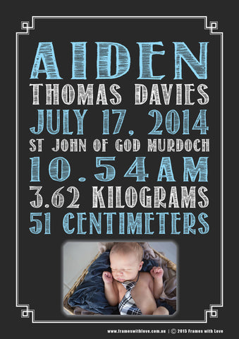 Birth Announcement Wall Art - Text Scroll with Photo - Blackboard Design - Blue - Girl or Boy (1136)