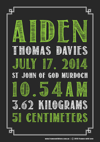 Birth Announcement Wall Art - Text Scroll - Blackboard Design - Green - Girl or Boy (1137)