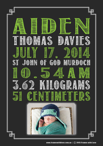 Birth Announcement Wall Art - Text Scroll with Photo - Blackboard Design - Green - Girl or Boy (1138)