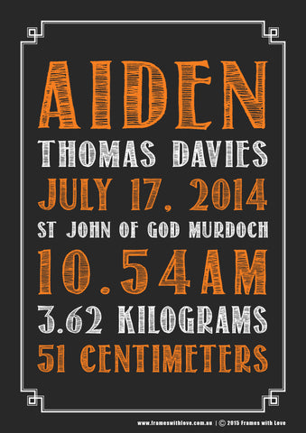 Birth Announcement Wall Art - Text Scroll - Blackboard Design - Orange - Girl or Boy (1139)