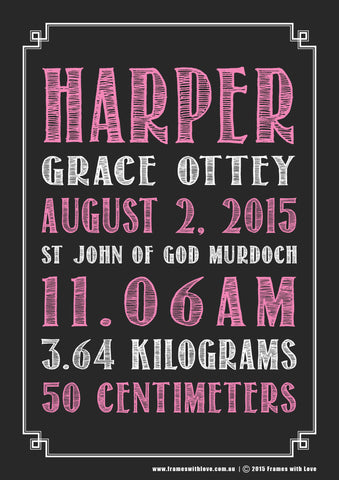 Birth Announcement Wall Art - Text Scroll - Blackboard Design - Pink - Girl or Boy (1141)