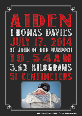 Birth Announcement Wall Art - Text Scroll with Photo - Blackboard Design - Red - Girl or Boy (1144)