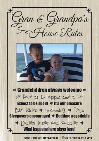 Gran & Grandpa's House Rules - Scroll Design with Photo - With Choice of Background! (1159)