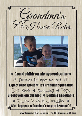 Grandma's House Rules - Scroll Design with Photo - With Choice of Background! (1162)
