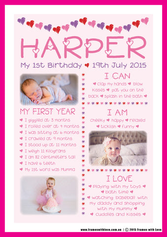 Birthday Wall Art - 1st Birthday with Photos - Pink - Girl (1177)